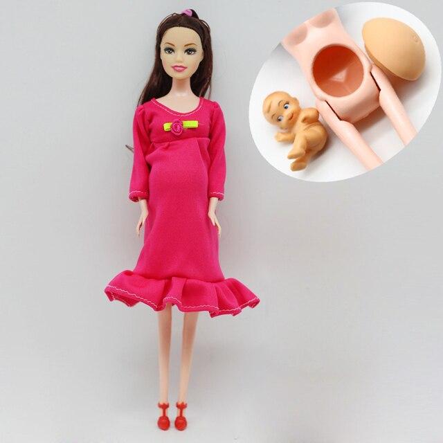 1 шт. DIY Каштановые волосы Реального беременная мама куклы имеют baby in her tummy for barbie куклы детские игрушки подарок er028