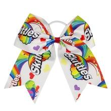 Adogirl 5pcs 6-7 Skittles Hair Scunchie School Girls Ribbon Bows Handmade DIY Headband Cheap Boubique Accessories