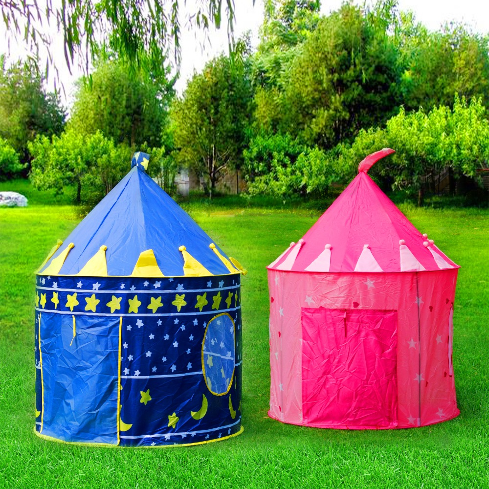 Portable Blue/Pink Prince Foldable Tipi Camping Toy Tent For Kids Children Castle Play House For Kids Best Gift Beach Tent