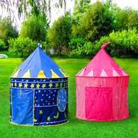 Portatile Blu/Rosa Principe Pieghevole Tepee campeggio Tenda giocattolo per I Bambini I Bambini Castello Casa Un Gioco da ragazzi Per I Bambini Best Regalo tenda della spiaggia