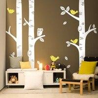 2016 Cute Owl Birds Birch Tree Wall Sticker Decal Wallpaper Mural Nursery Baby Forest Home Background