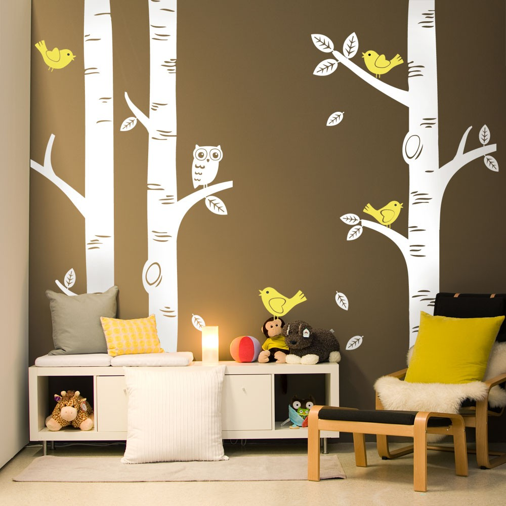 Wild birch forest with owls vinyl wall decal - 2016 Cute Owl Birds Birch Tree Wall Sticker Decal Wallpaper Mural Nursery Baby Forest Home Background