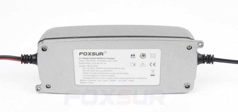 FOXSUR 12 V 4A 6 V 1A 11-stage Smart Chargeur de Batterie, 6 V 12 V EFB GEL AGM HUMIDE Batterie De Voiture Chargeur avec écran lcd et Desulfator - 2