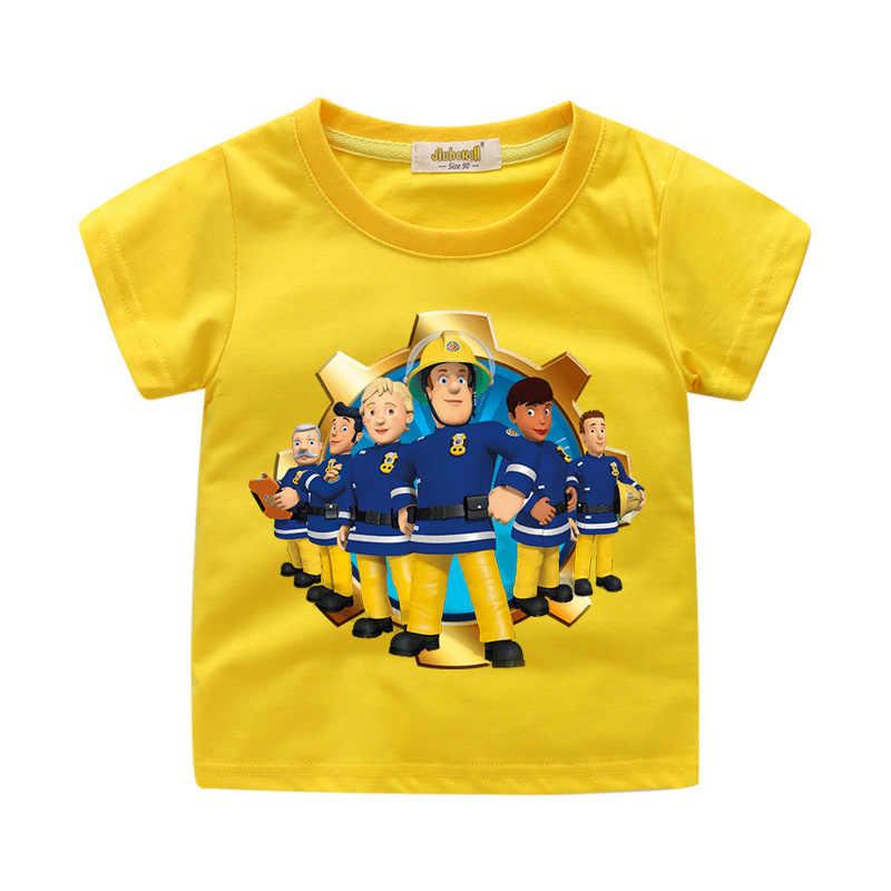 Fireman Sam Boy Girl Cartoon Short Sleeve T-shirt Summer Casual Party Costumes