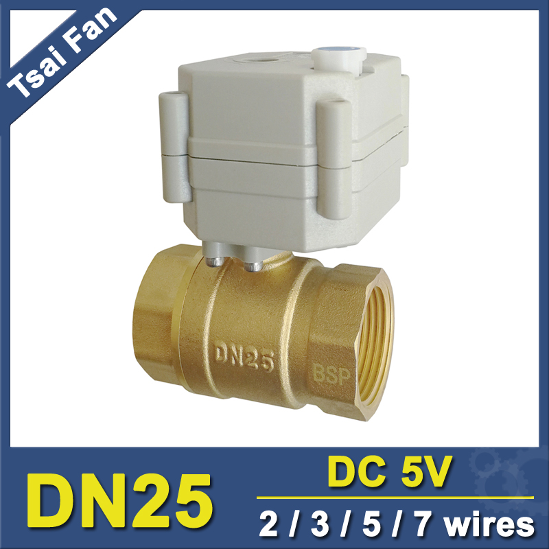 TF25-B2-B DN25 1 BSP/NPT 2 Way Brass Mini Motorized Valve With Manual Override Electric Ball Valve DC5V 2/3/5/7 Wires mini brass ball valve panel mountable 450psi with lever handle chrome plated malexfemale npt