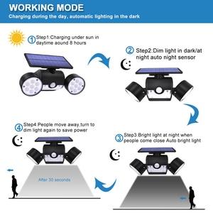 Image 5 - Новейший Настенный Солнечный светильник с двойной головкой, уличный водонепроницаемый садовый Настенный Солнечный светильник с регулируемым углом поворота 30 светодиодов, 500 лм