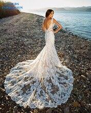 רומנטי קפלת רכבת בת ים חתונה שמלה 2019 צווארון V ואגלי חוף תחרה הכלה שמלת שריד דה Noiva