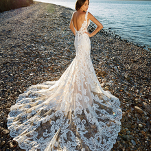 CLOUDS IMPRESSION Romantic Chapel Train Mermaid Wedding Dress 2019 V-n