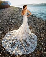 CLOUDS IMPRESSION Romantic Chapel Train Mermaid Wedding Dress 2019 V neck Beading Beach Lace Bride Dress Vestige De Noiva