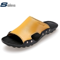 Leather Summer Slippers Light Weight Mesh Breathable Massage Slippers Men Flats Comfortable Outdoor Shoes AA10003