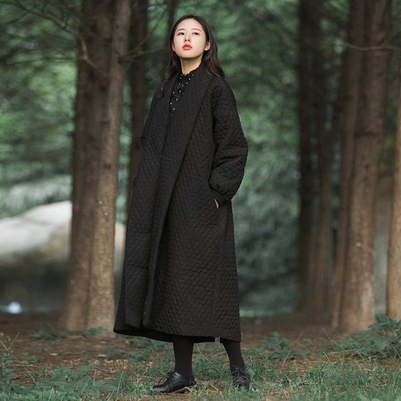Trench For Women 2016 Hot Sale Fashion elegant oversized black long maxi thick Cotton trench coat