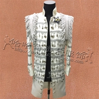 Plus Size S 3XL White Black Red Sequins Chains Epaulet Medium Men's Jacket Nightclub Male Singer DS Stage DJ Show Costume Outfit