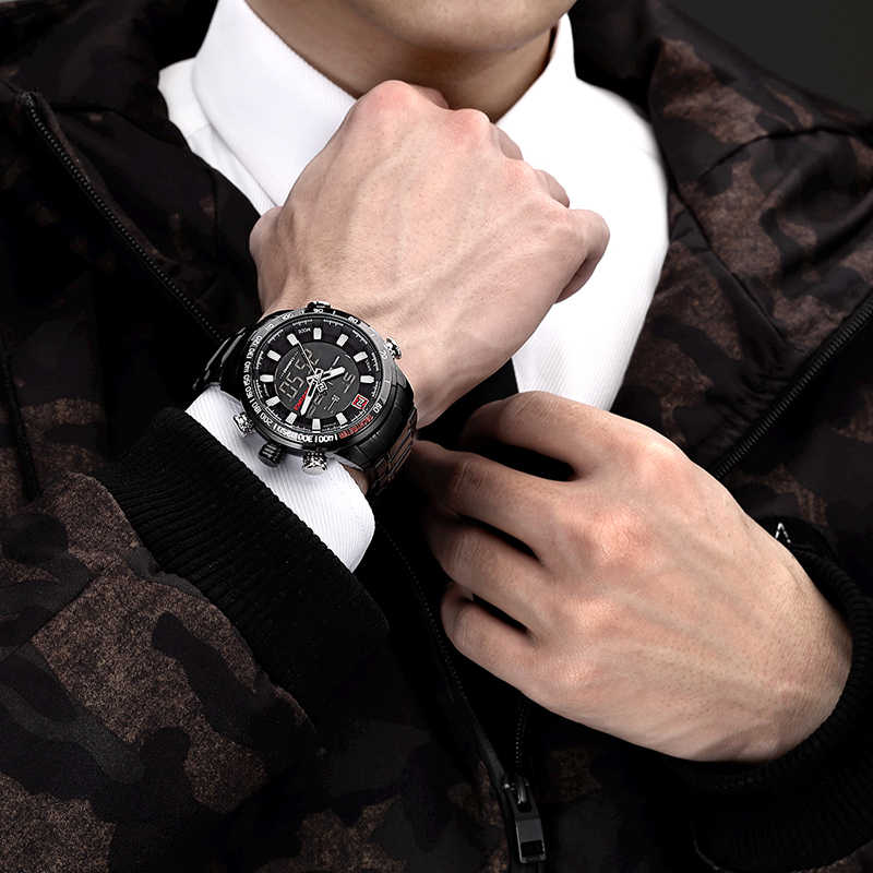 NAVIFORCE marque de luxe hommes Sport militaire montres hommes numérique Quartz horloge plein acier étanche montre-bracelet relogio masculino