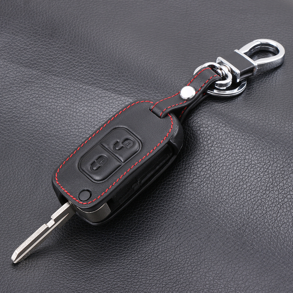 2 button fold key genuine leather car key case cover for for Key mercedes benz
