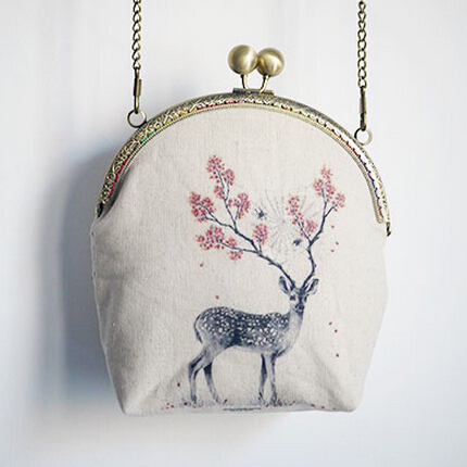 Vintage Mori Kisslock Embrague Deer Mini Bolsa Tarjeta de Teléfono - Bolsos