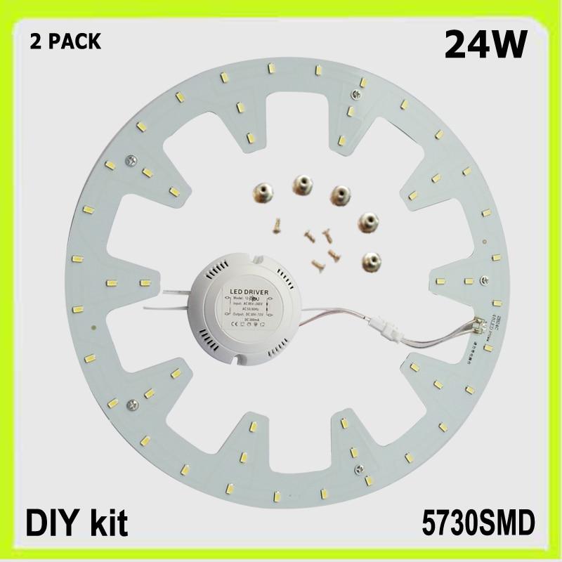 Top Quality 2 PACK Round 24W LED Ceiling Light Led Panel PCB Led DIA 272MM LED Down Light Source Techo LED 120v 220V 230V 240V