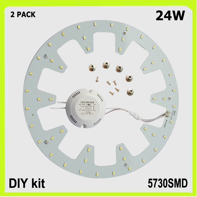Topp kvalitet 2 PACK runde 24W LED taklampe LED-panel PCB ledet DIA - LED-belysning