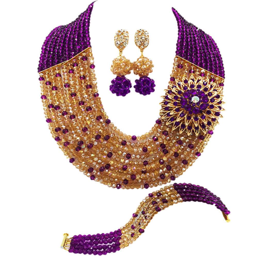Мода фиолетовый Золотой AB Кристалл бисером Custome Африканский ювелирный набор нигерийский Свадебный ожерелье наборы бисера 10C-SZ36