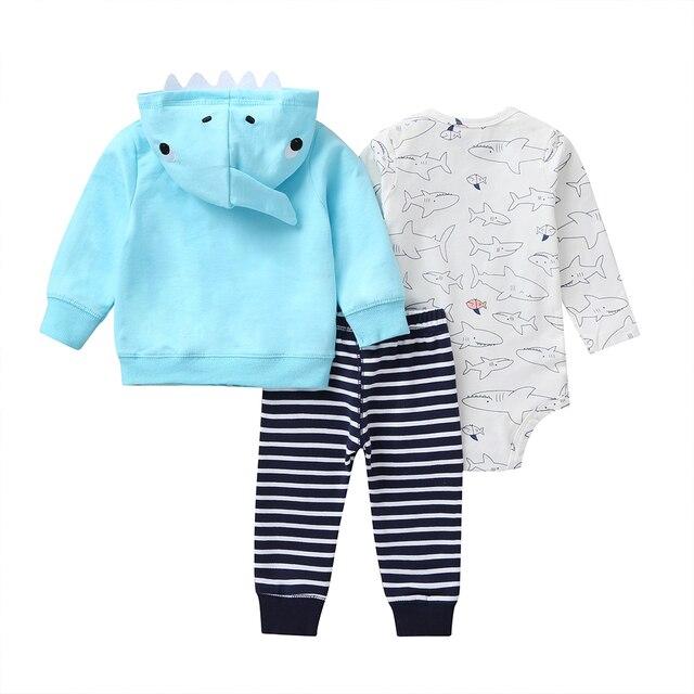 cartoon shark baby boy set long sleeve hooded coat blue+bodysuit+pants stripe 2020 spring fashion babies outfit newborn clothes 2