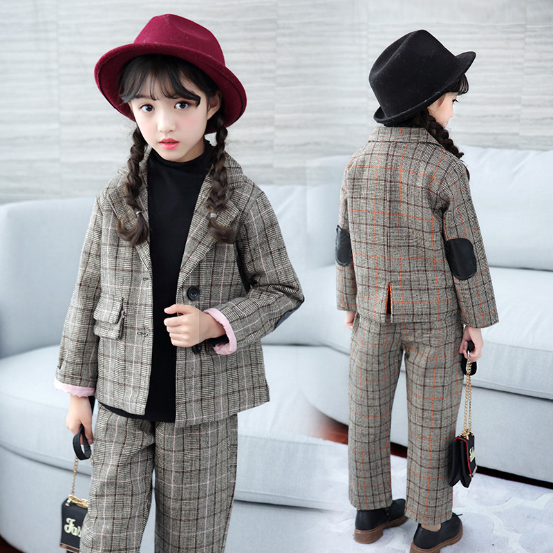 FYH Kids Clothes Autumn Winter Girls Plaid Suit Set Two-pieces Children Clothing Set Thicken Turn-down Collar Wool Jacket +Pants 2016 new fashion autumn winter boy two pieces suit thicken children tops pants suit leisure hooded kids clothes hl0856