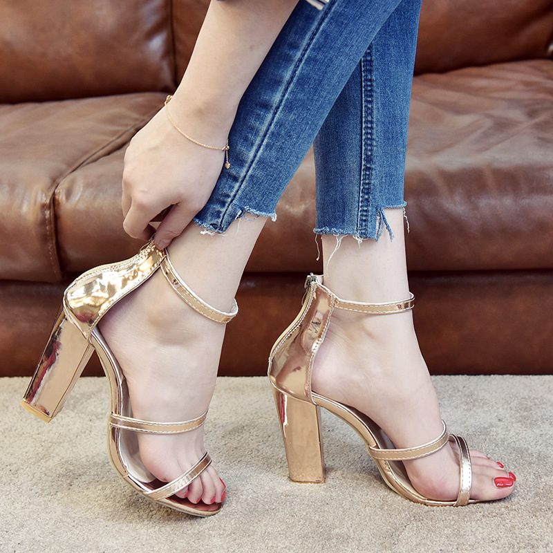Summer new gold silver women roma sandals gladiator fashion high heels open toe ladies party shoes big size 34-42 sandale femme 2018 summer hot women gladiator sandals gold rivet leather straps sexy open toe ladies fashion high heels party stiletto size 42