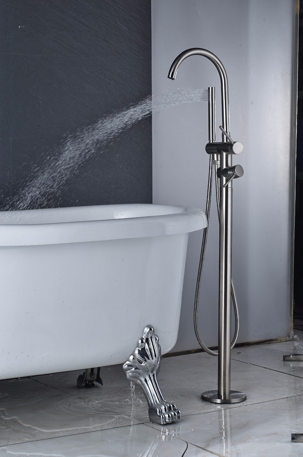 Quyanre Black Nickel Chrome Bathtub Shower Faucet Two Way Floor ...
