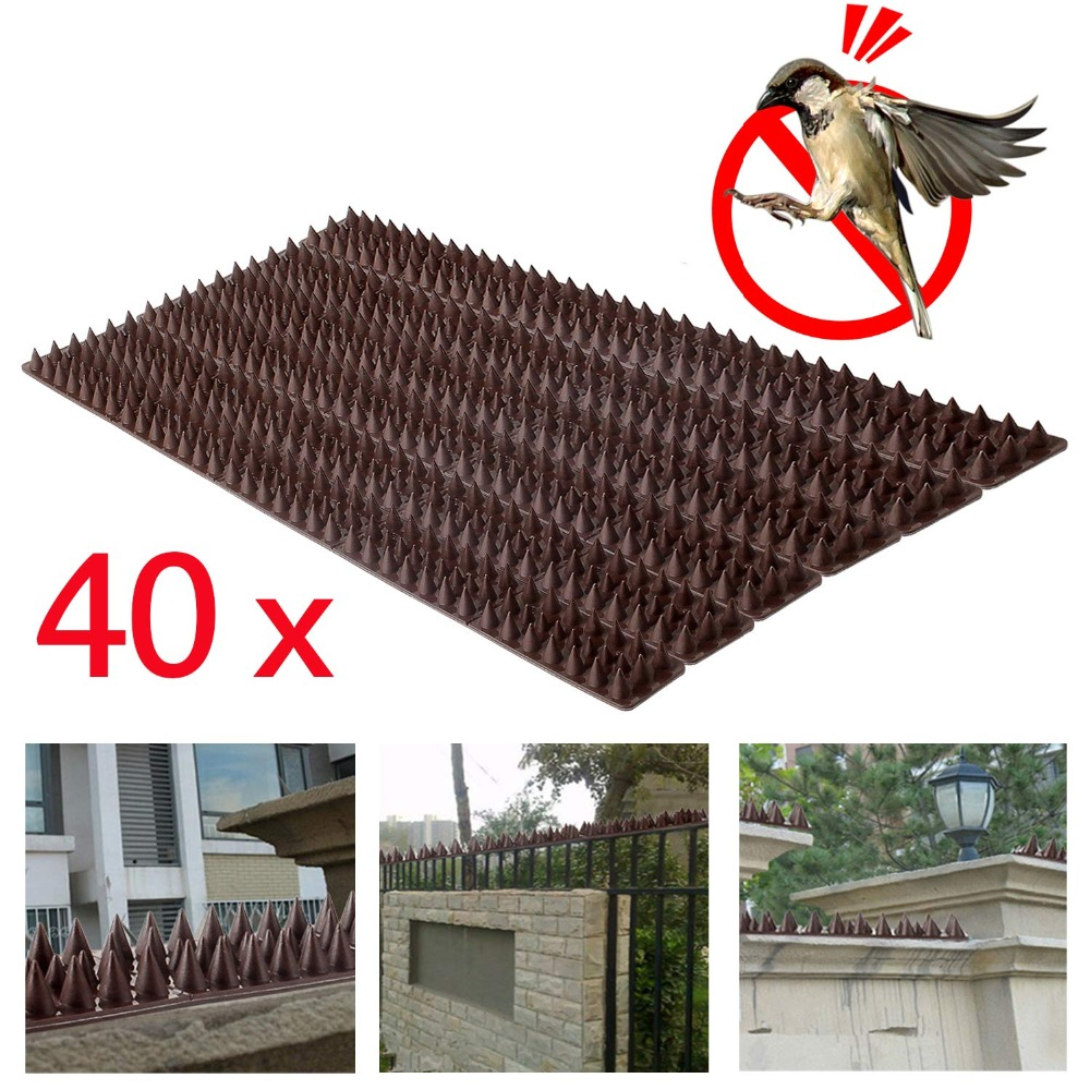 Forever Speed Repellent Plastic Drive Down Bollard Birds Spikes Anti Pigeons Birds 40pcs Spikes brown spikes 49 x 4.5 x 1.7 cm