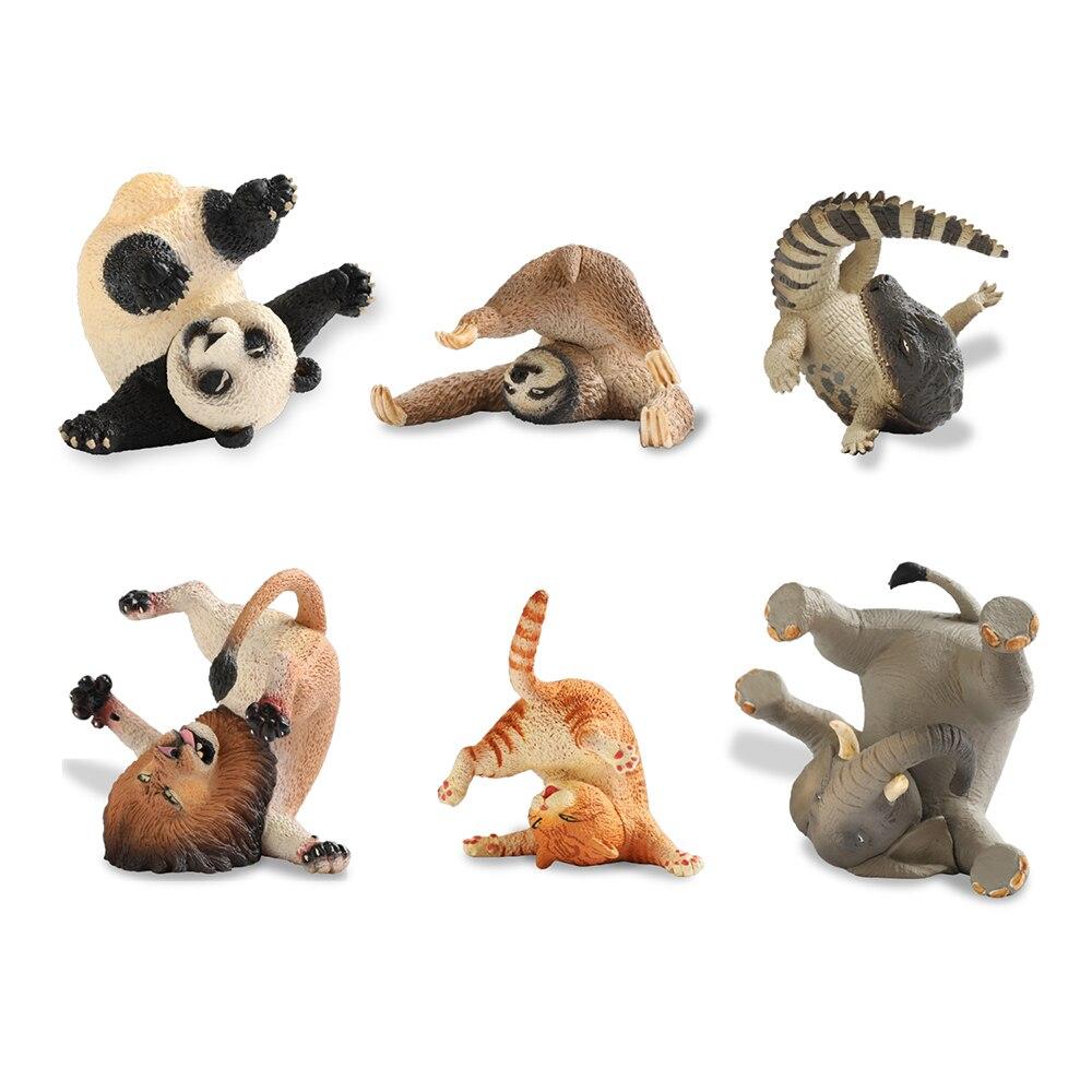 Japan Capsule All 6pcs Cute Animal Life Pet Funny Orange Cat Panda Sloth Lion African Elephant Nile Crocodile Rolling Figure Toy