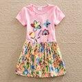 Chica de verano vestido bordado de flores de manga corta de algodón puro del bebé ropa sweet cuello redondo a-line vestido h6250