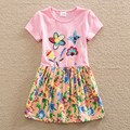 Girl summer dress embroidered flowers with short sleeves made of pure cotton baby clothes sweet round collar a-line dress H6250
