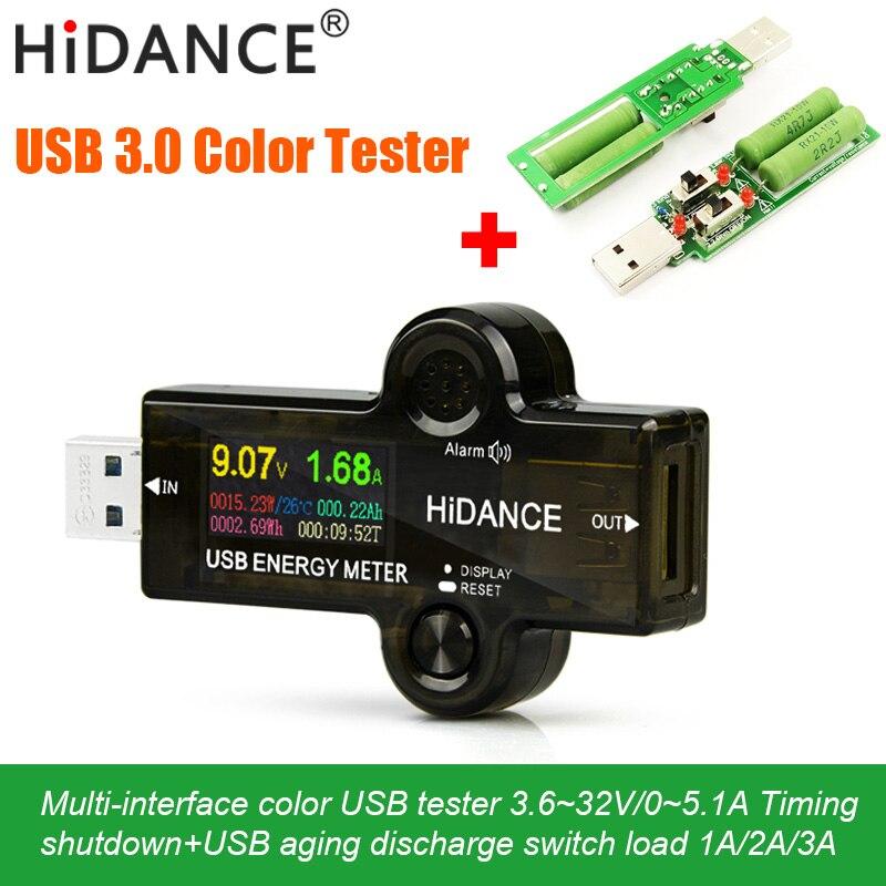 USB 3,0 probador voltímetro voltaje actual medidor de Color voltios amp amperímetro detector batería banco de energía cargador indicador + carga usb