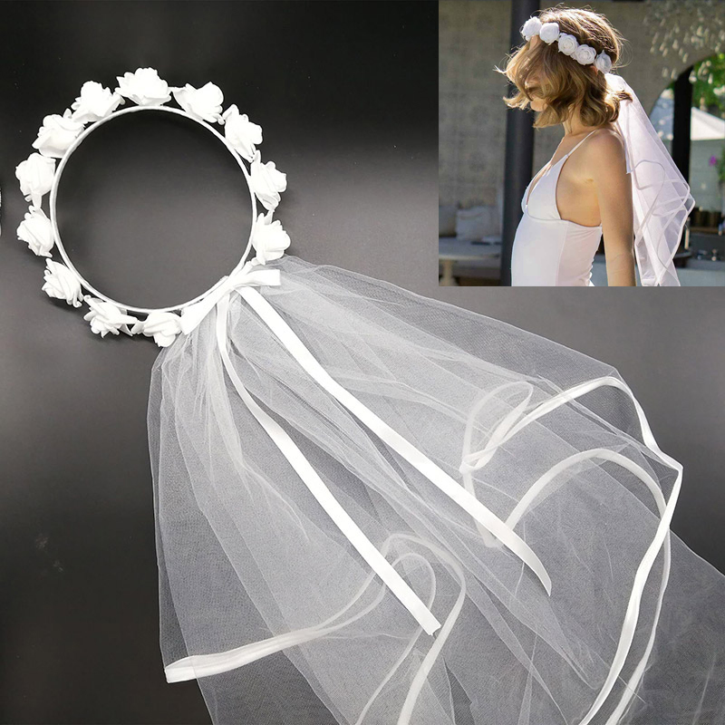 Wedding Bridal Flower Hair Wreath Tulle Bridal Veils Garland Hair Veil Princess Headband Wedding Decoration Hair Accessories