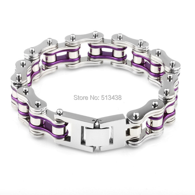Cool Men S Fashion 8 8 Silver Purple Heavy Motorcycle Chain