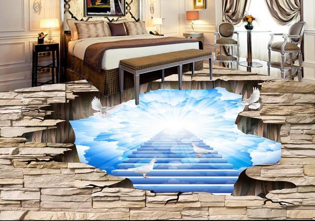Vinyl Vloer Verven : Custom luxe 3d vloer schilderen mooie sky 3d behang woonkamer vinyl