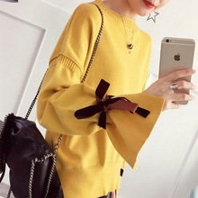 Autumn New Woman Sweaters Flare Sleeve Female Casual Knitted Pull Regular Sweater Pulll for