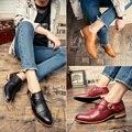 2016 Весна Кожаные Ботинки Мужчины Бизнес Акцентом Платье Обуви Итальянской Оксфорды Обувь Формальные Бизнес Zapatos Chaussure Homme Де Marque
