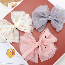 Spring and summer new yarn five-pointed star mesh bow hairpin children's pressure clip hair accessories headdress female