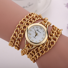Men's Women's Geneva Analog Quartz Round Case Long Golden Chain Bracelet Wrist Watch 8HWO