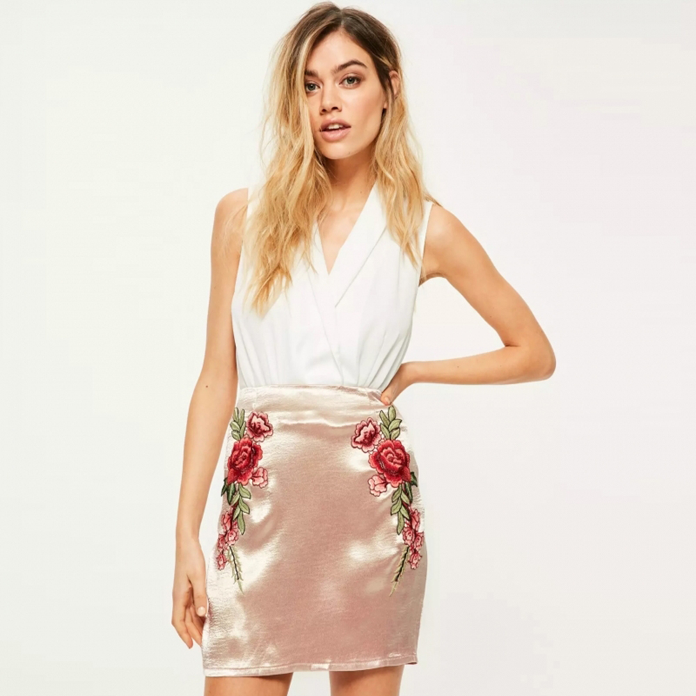 8ce95e0c25 KMD KOMODA Vintage Satin Floral Embroidered Mini Skirt Women Clothing Solid  Pink Elegant Skirt Brief Female Summer Skirt-in Skirts from Women's  Clothing on ...