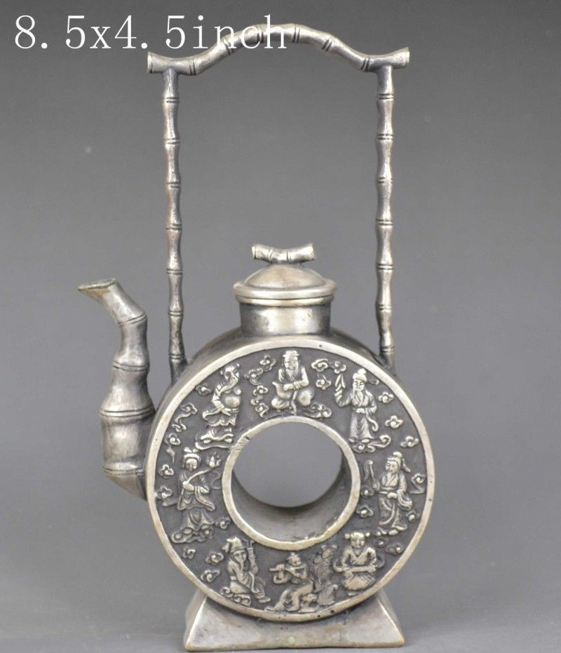 China/'s old handmade exquisite lucky miao silver teapot the eight immortals