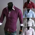New 2014 Spring 5 Color Fashion Stripe Collar Mens Dress Shirts Casual Slim Fit Long sleeves Man Social Camisa Masculina M-XXL