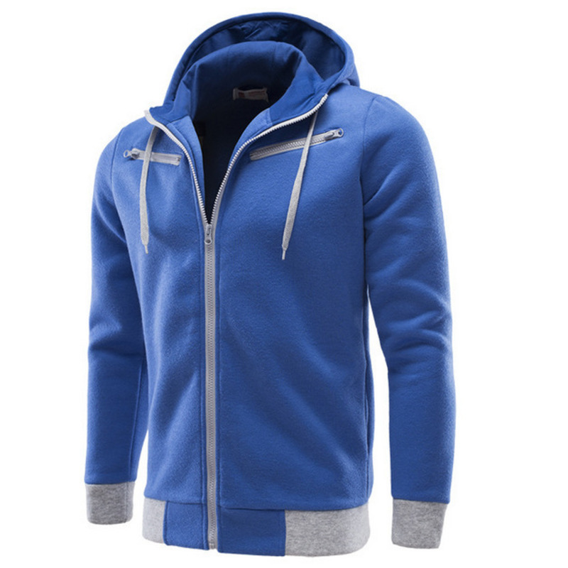 Men's solid color long sleeve hooded zipper cardigan hoodie fashion hoodies for men casual hooded hoody style