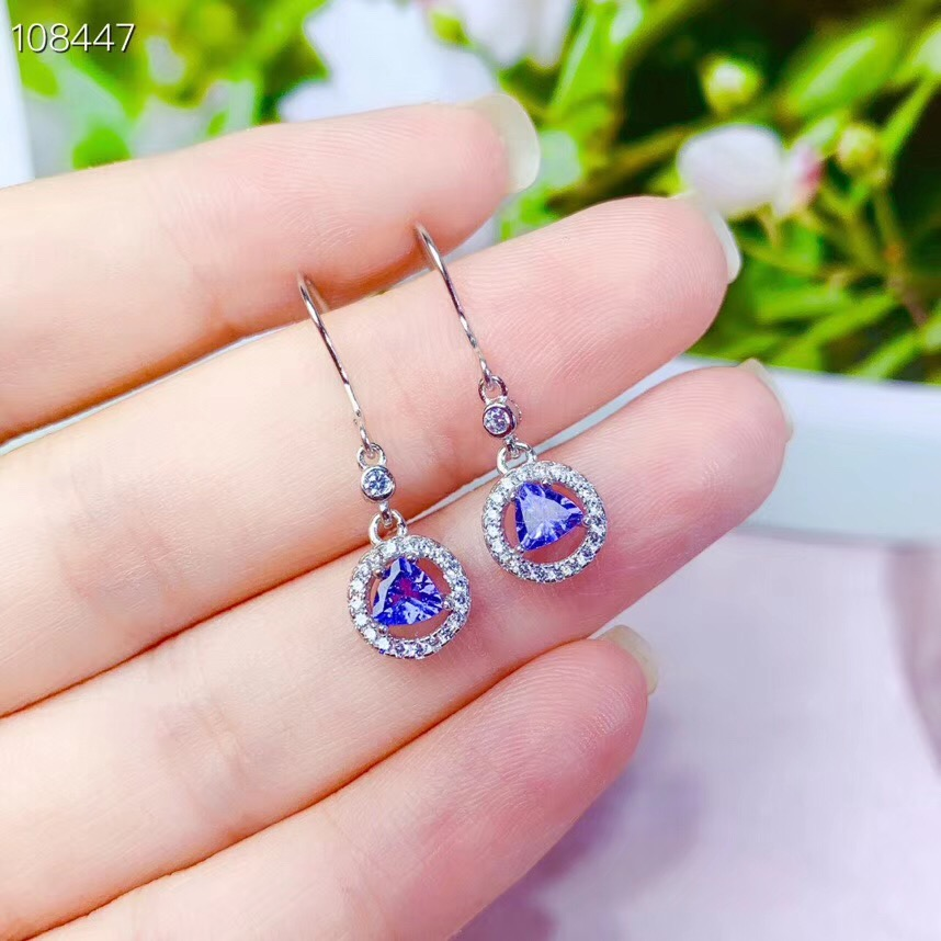 Natural Blue Tanzanite Drop Earrings For Women Lady Love Gift 4mm Beads 925 Silver Sterling Clear Stone Earrings Jewelry AAAAA