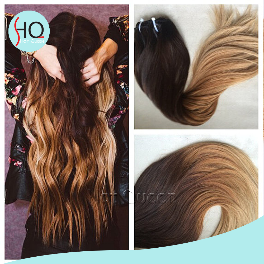 European Remy Body Wave Ombre Brown To Blonde Hair Weave Hair