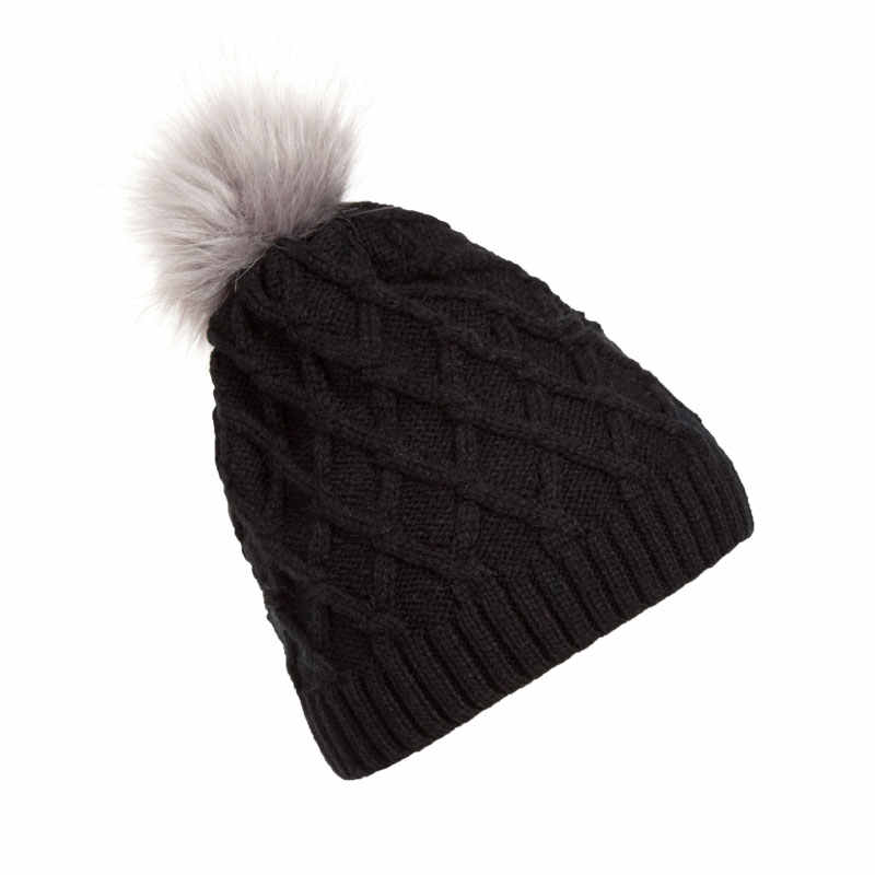 fda132baa Trendy New Design Women's Winter Toque Hats Plaid Cable Knit Beanie with  Faux Fur Pom Pom Warm Skull Caps Toque Black Purple