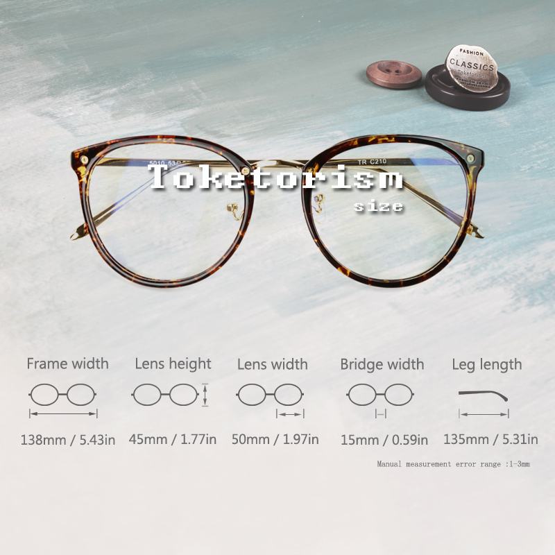 6f7fd3e479 Toketorism 2019 tr90 gold glasses frame vintage women men eyes glasses  miopia diopter optical frames -in Eyewear Frames from Apparel Accessories on  ...