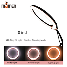 Mamen Mini 8inch Photography Dimmable LED Selfie Ring Light 3200-5600k USB Plug Charging Fill For Makeup Video Live Studio