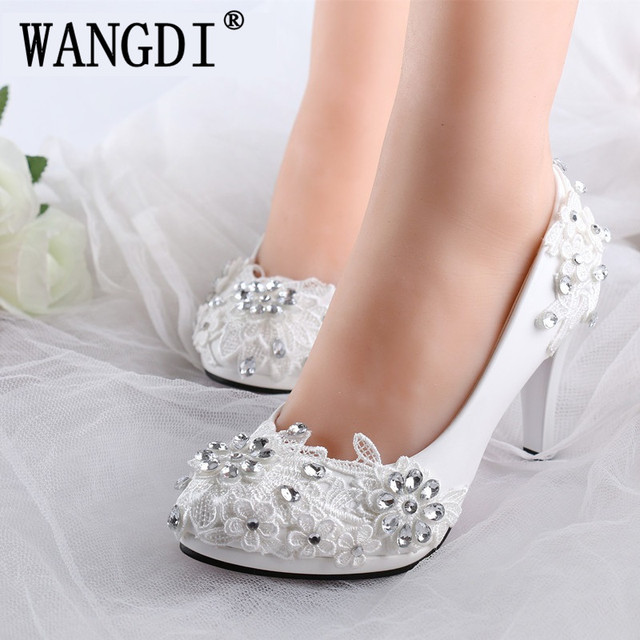 Plus size 34-40 fashion lace wedding shoes white for women handmade bridal  shoe comfortable heel platforms brides shoes 7f8b797be34f