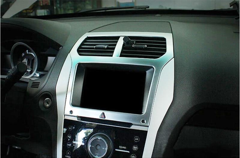 1PCS Middle Console Navigation Decorative Cover Trim For Ford Explorer 2011-2015