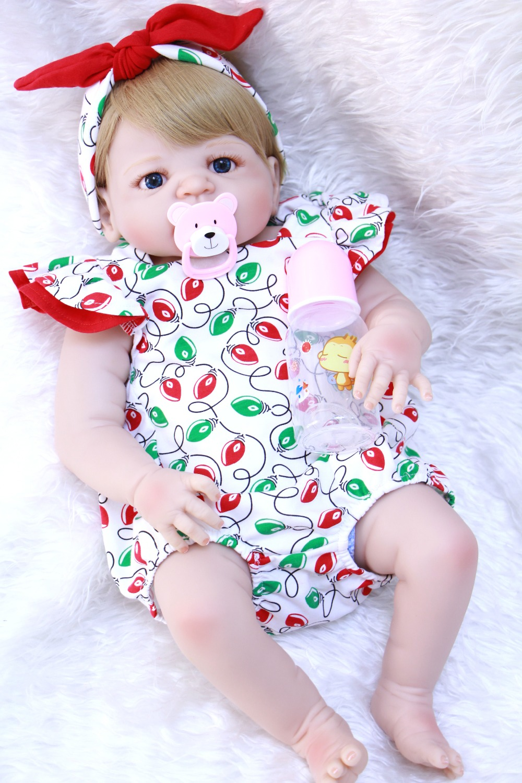 Bebes reborn real newborn baby full silicone dolls toys for children gift 2357cm girl toddler reborn babies dolls can bathe